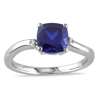 Miadora Sterling Silver Created Sapphire and Diamond Cocktail Ring