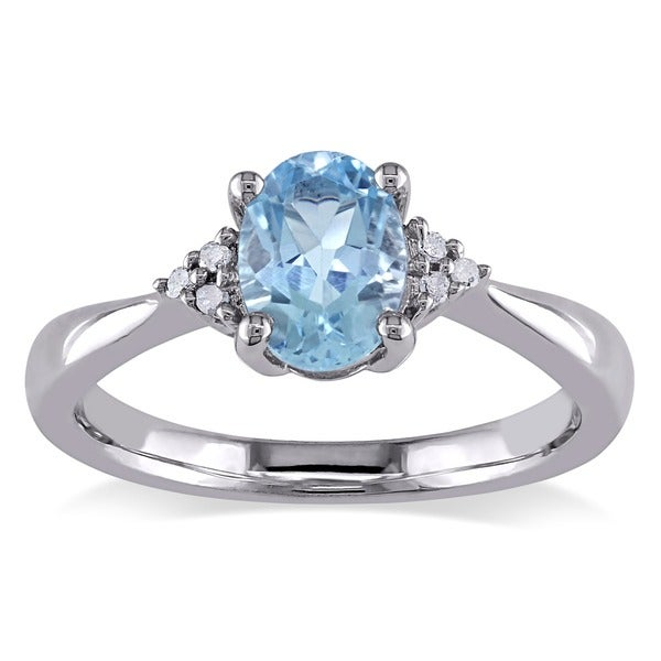 M by Miadora Sterling Silver Blue Topaz and Diamond Accent Ring