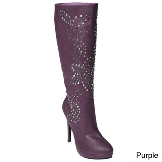 Liliana by Adi Women's 'Connie' Stud Embellished Stiletto Boots