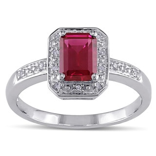 M by Miadora Sterling Silver Created Ruby and Diamond Accent Ring