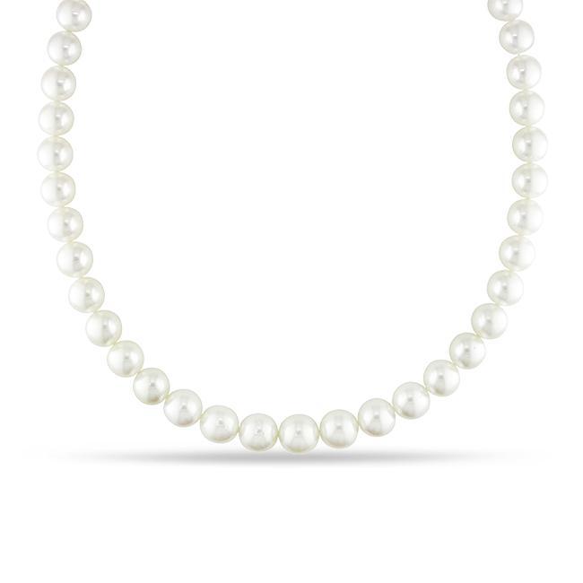 Miadora 14k Gold White South Sea Pearl and Diamond Necklace (10-13 mm)