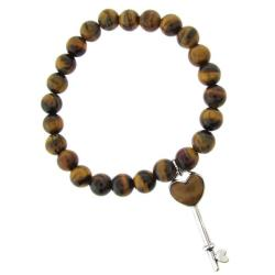 Dolce Giavonna Sterling Silver Tigers Eye Heart Key Charm Stretch Bracelet