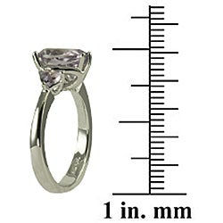 Gems For You Sterling Silver Pink Amethyst 3-stone Ring (Size 7)