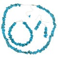 Glitzy Rocks Sterling Silver Turquoise Chip Jewelry Set