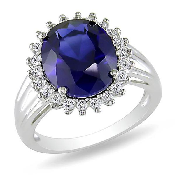 Miadora Sterling Silver Created Sapphire and White Topaz Ring
