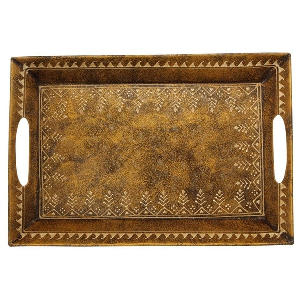 Wrought Iron Hand-painted and Embossed Decorative Tray (India)