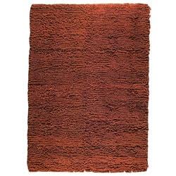 Hand-woven Brown Wool Rug (5'6 x 7'10)