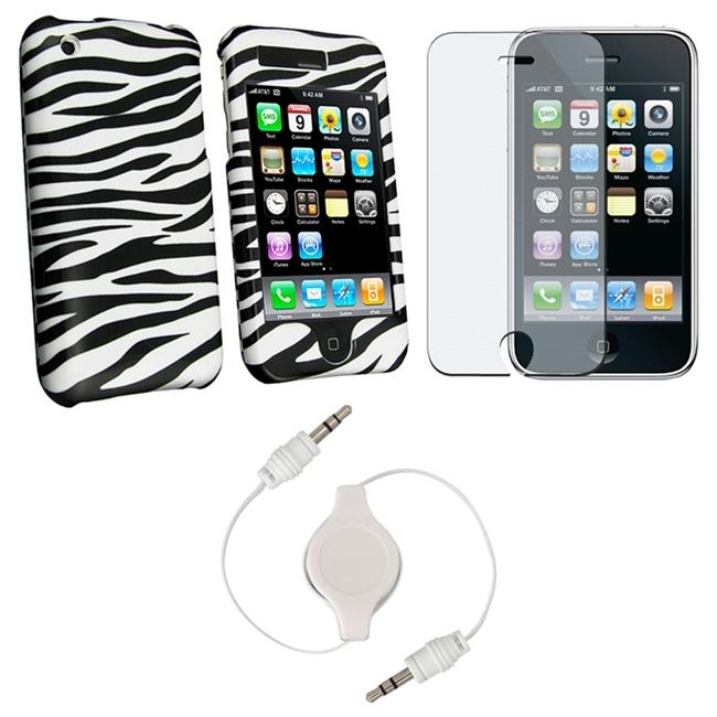 3-piece Zebra Case and 3.5mm Audio Cable for Apple iPhone 3G/ 3GS