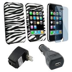 4-piece Zebra Case with Car Travel Charger for Apple iPhone 3G/ 3GS