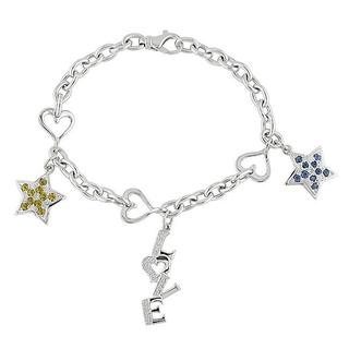 Miadora Signature Collection 14k Gold Sapphire and 1/8ct TDW Diamond Bracelet (H-I, I1-I2)