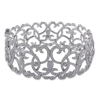 Shira Design 14k White Gold 4 1/3ct TDW Diamond Bangle Bracelet (G-H, SI1-SI2)