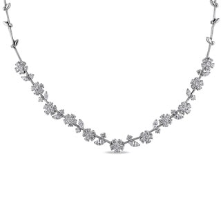 Miadora 18k White Gold 13 1/4ct TDW Diamond Necklace (G-H, SI1-SI2)