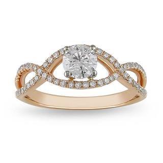 Miadora 14k Two-tone Gold 3/4 CT TDW Diamond Ring (G-H-I, I1-I2) with Bonus Earrings