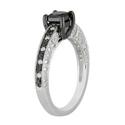 Sterling Silver 1ct TDW Black and White Diamond Ring (H-I, I3)
