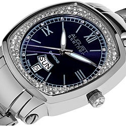 August Steiner Ladies Day Date Diamond Steel Watch