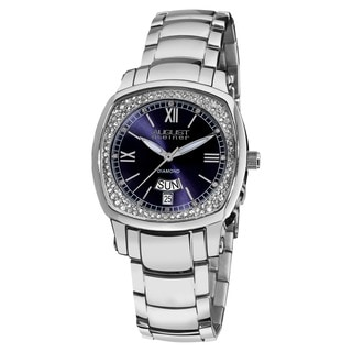 August Steiner Women's Day Date Diamond Stainless Steel Blue Watch