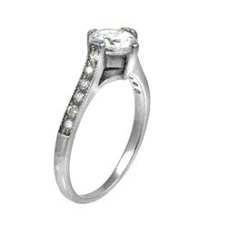 Stainless Steel Cubic Zirconia Cathedral Engagement Ring