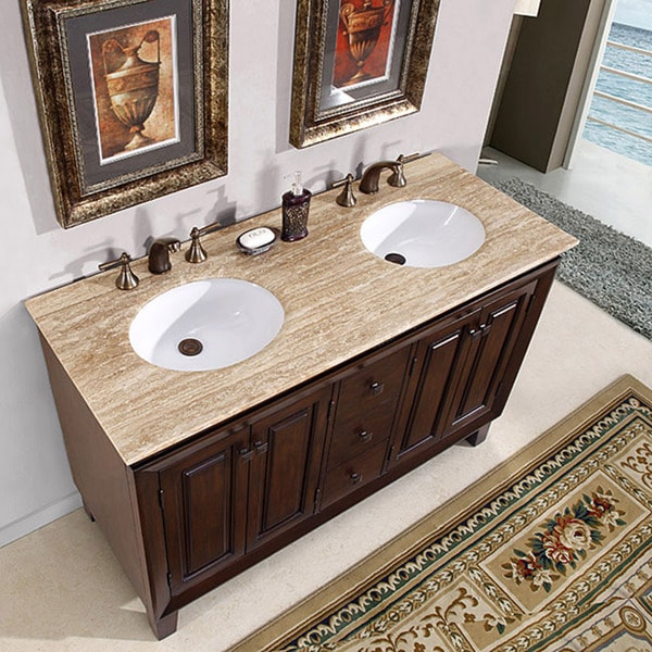 Silkroad Exclusive Alameda 55 Inch Double Sink Dark Brown