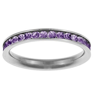 Stainless Steel Light Purple Cubic Zirconia Ring