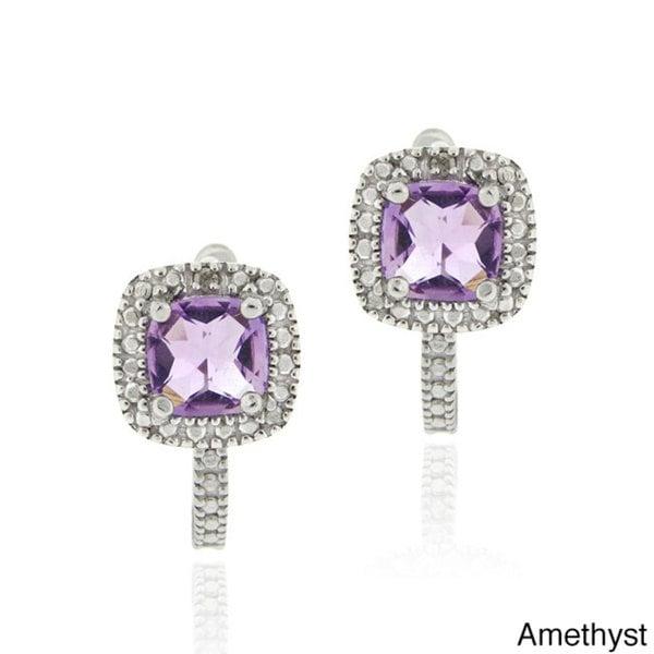 Glitzy Rocks Sterling Silver 1 3/5ct TGW Gemstone and Diamond Square Earrings