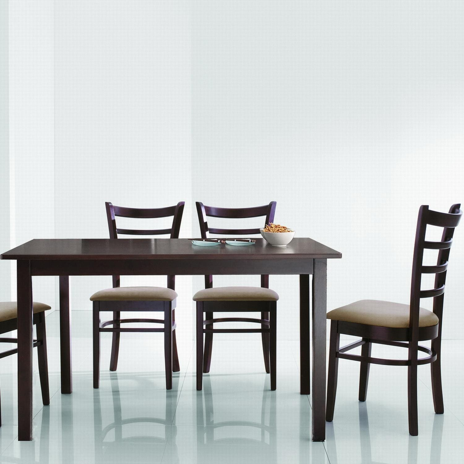 dark brown 5 piece modern dining set furniture table chairs room style