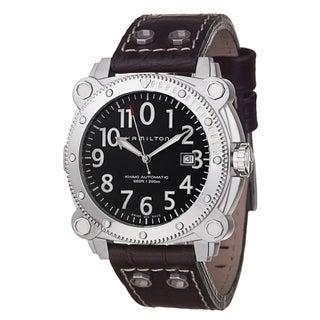 Hamilton Men's 'Khaki Navy' Stainless Steel, Leather Automatic Watch