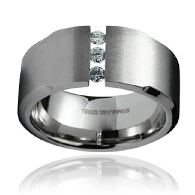 Stainless Steel Men's Cubic Zirconia Wide Ring