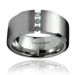 Stainless Steel Men's Cubic Zirconia Wide Ring