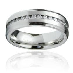 Stainless Steel Men's Cubic Zirconia Ring