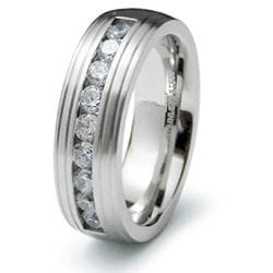 Men's Stainless-Steel Cubic Zirconia Fashion Ring