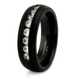 Black Stainless Steel Men's Cubic Zirconia Ring
