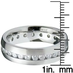 Stainless Steel Men's Cubic Zirconia Eternity Ring