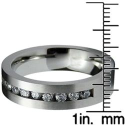 Men's Black-Plated Stainless-Steel Cubic Zirconia Ring