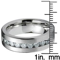 Men's Stainless-Steel White Cubic Zirconia Ring