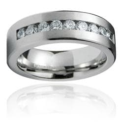 Men's Stainless-Steel White Cubic Zirconia Ring