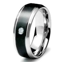 Two-tone Stainless Steel Cubic Zirconia Inlay Ring