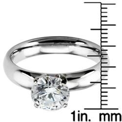 Stainless Steel Cubic Zirconia Solitaire Ring