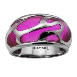High-Polish Stainless-Steel Purple-Resin Inlay Cocktail Ring