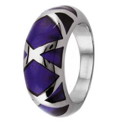 Stainless Steel Purple Resin Inlay Cocktail Ring