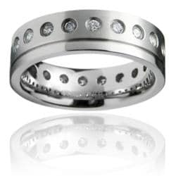Stainless Steel Cubic Zirconia Eternity Ring