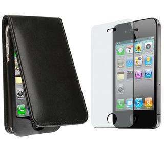 BasAcc Black Leather Case/ Anti-glare LCD Protector for Apple iPhone 4