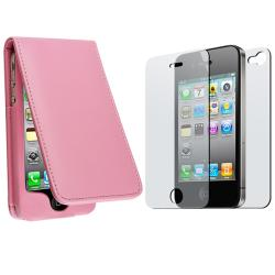 Light Pink Leather Case/ 2-piece Screen Protector for Apple iPhone 4