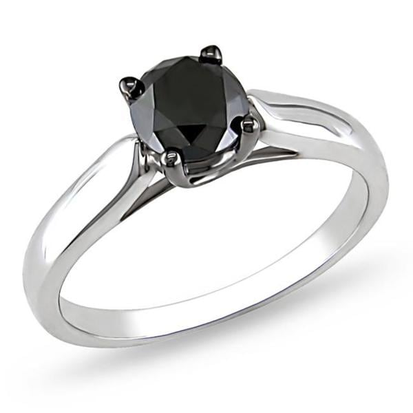 Sterling Silver 1ct TDW Black Diamond Solitaire Ring