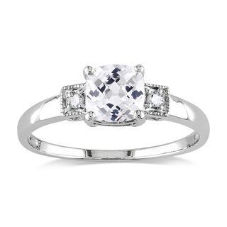 Miadora Sterling Silver Created White Sapphire and Diamond Ring