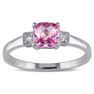 M by Miadora Sterling Silver Created Pink Sapphire and Diamond Cocktail Ring