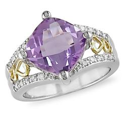 Miadora 10k Gold and Silver Amethyst and 1/10ct TDW Diamond Ring (J-K, I3)