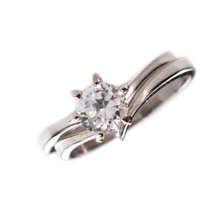NEXTE Jewelry Silvertone Cubic Zirconia 2-piece Ring Set