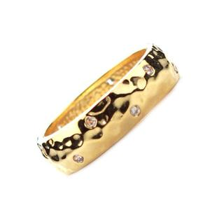 NEXTE Jewelry Goldtone Clear Cubic Zirconia Hammered Band
