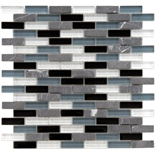 SomerTile 12x12-in Reflections Subway 5/8x2-in Charcoal Glass/Stone Mosaic Tile (Pack of 10)
