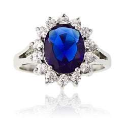 La Preciosa Sterling Silver Blue and Clear CZ Diana Ring